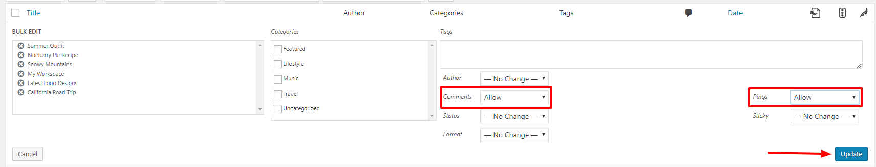 WordPress Setup Bulk Edit Comments